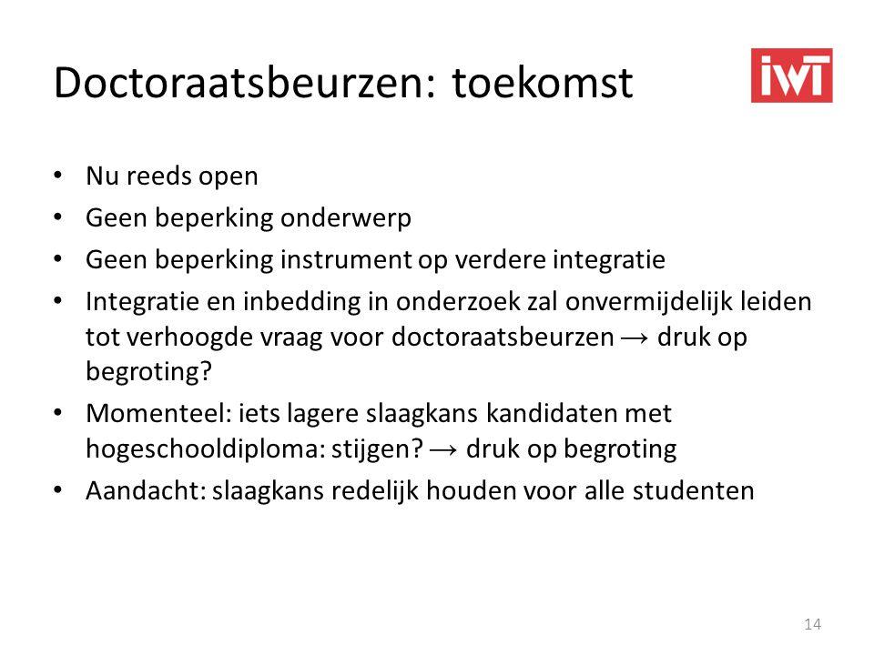 Doctoraatsbeurzen: toekomst • Nu reeds open • Geen beperking onderwerp • Geen beperking instrument op verdere integratie • Integratie en inbedding in