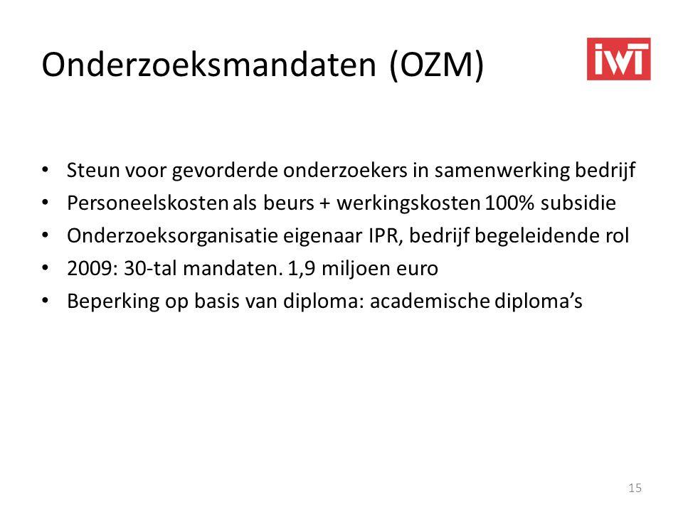 Onderzoeksmandaten (OZM) • Steun voor gevorderde onderzoekers in samenwerking bedrijf • Personeelskosten als beurs + werkingskosten 100% subsidie • On