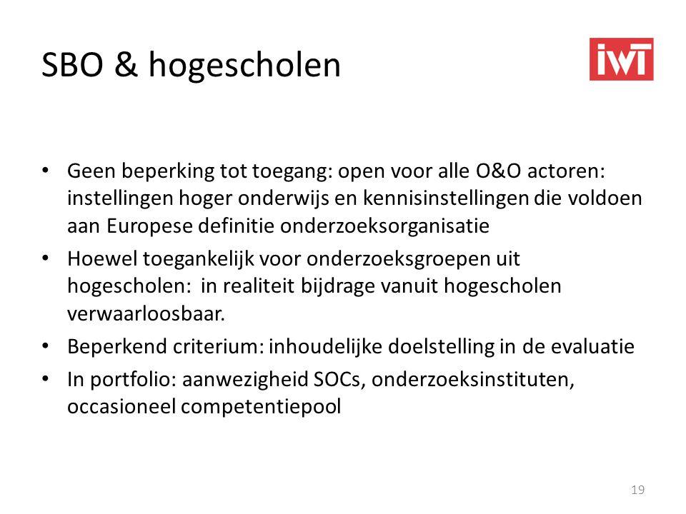 SBO & hogescholen • Geen beperking tot toegang: open voor alle O&O actoren: instellingen hoger onderwijs en kennisinstellingen die voldoen aan Europes