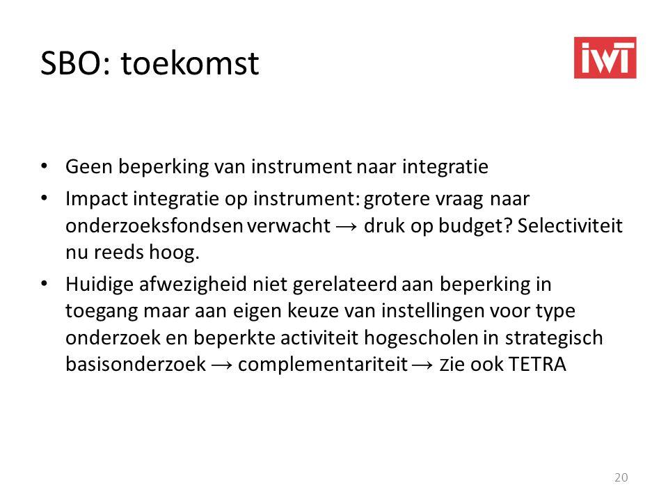 SBO: toekomst • Geen beperking van instrument naar integratie • Impact integratie op instrument: grotere vraag naar onderzoeksfondsen verwacht → druk