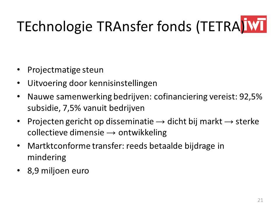 TEchnologie TRAnsfer fonds (TETRA) • Projectmatige steun • Uitvoering door kennisinstellingen • Nauwe samenwerking bedrijven: cofinanciering vereist:
