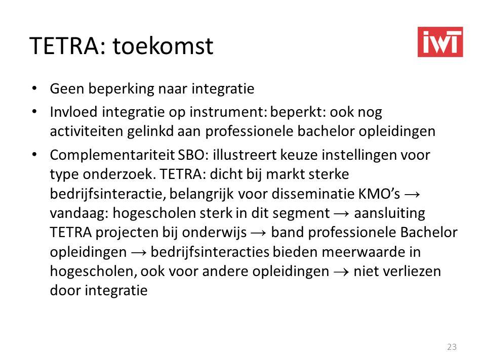 TETRA: toekomst • Geen beperking naar integratie • Invloed integratie op instrument: beperkt: ook nog activiteiten gelinkd aan professionele bachelor