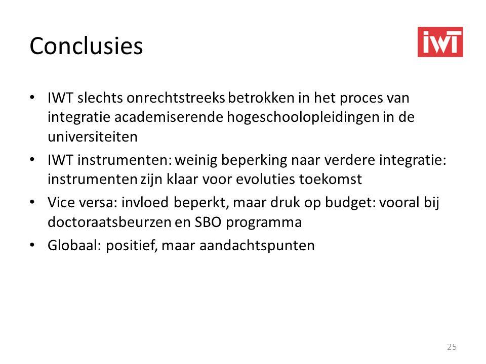 Conclusies • IWT slechts onrechtstreeks betrokken in het proces van integratie academiserende hogeschoolopleidingen in de universiteiten • IWT instrum