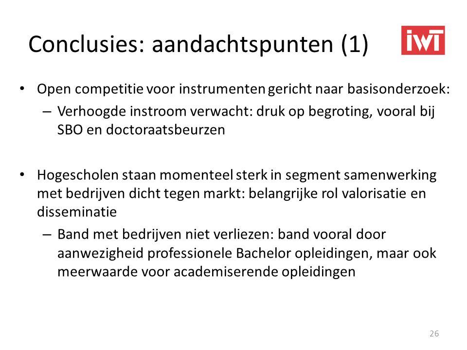Conclusies: aandachtspunten (1) • Open competitie voor instrumenten gericht naar basisonderzoek: – Verhoogde instroom verwacht: druk op begroting, voo