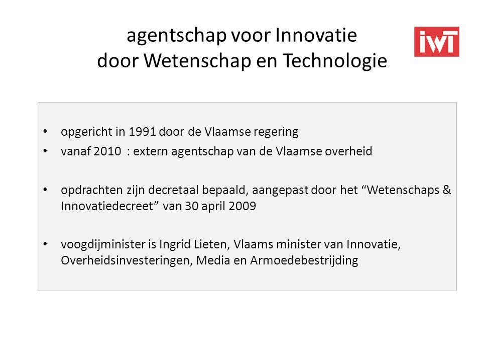 agentschap voor Innovatie door Wetenschap en Technologie • opgericht in 1991 door de Vlaamse regering • vanaf 2010 : extern agentschap van de Vlaamse