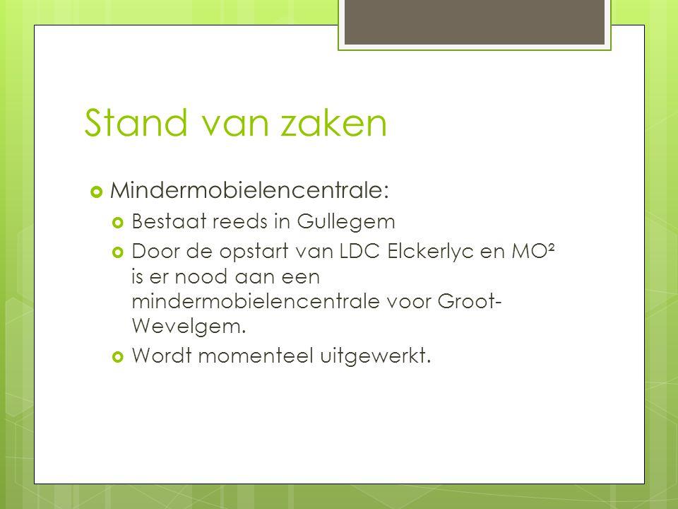 Stand van zaken  Mindermobielencentrale:  Bestaat reeds in Gullegem  Door de opstart van LDC Elckerlyc en MO² is er nood aan een mindermobielencentrale voor Groot- Wevelgem.