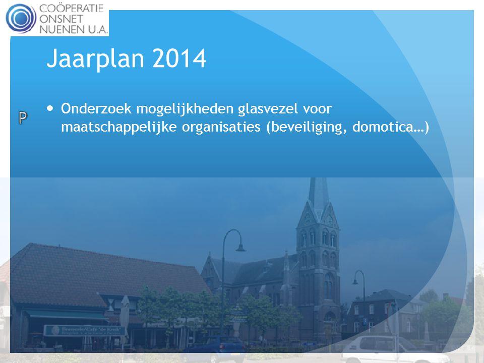 Jaarplan 2014  Onderzoek mogelijkheden glasvezel voor maatschappelijke organisaties (beveiliging, domotica…)