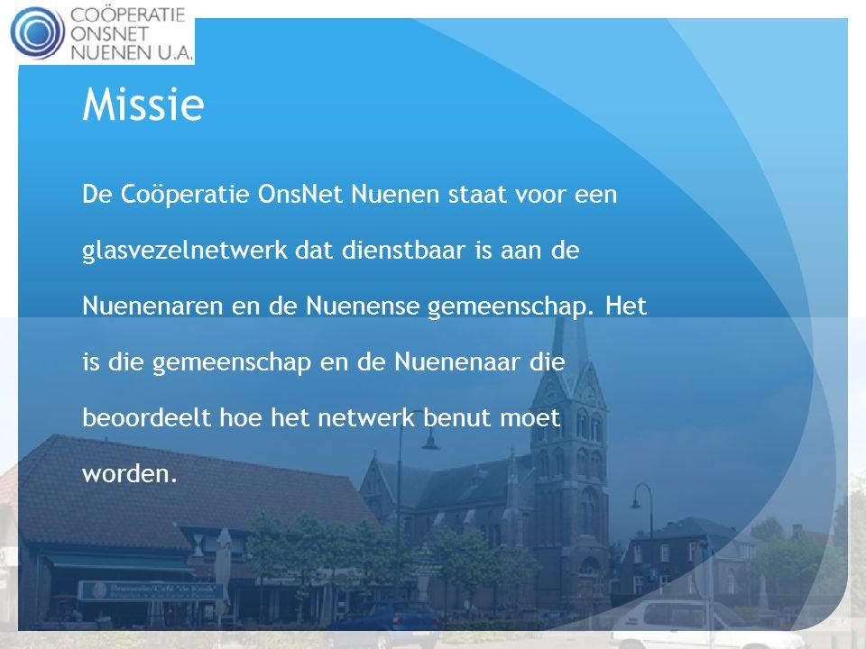Missie De Coöperatie OnsNet Nuenen staat voor een glasvezelnetwerk dat dienstbaar is aan de Nuenenaren en de Nuenense gemeenschap.