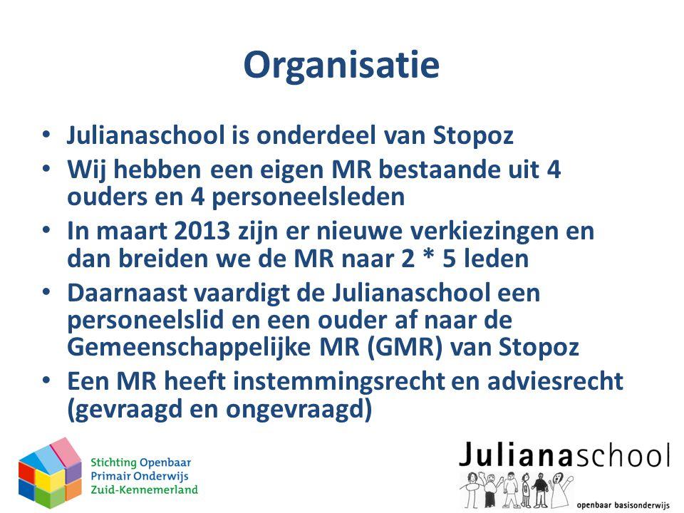 Organisatie • Julianaschool is onderdeel van Stopoz • Wij hebben een eigen MR bestaande uit 4 ouders en 4 personeelsleden • In maart 2013 zijn er nieu