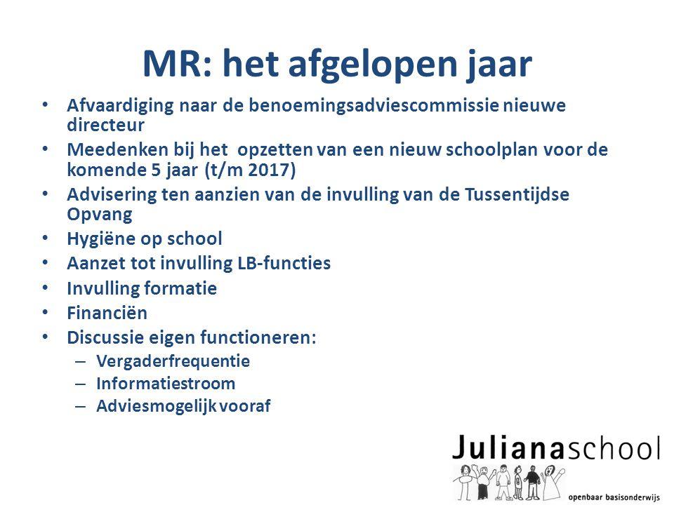 MR: het afgelopen jaar • Afvaardiging naar de benoemingsadviescommissie nieuwe directeur • Meedenken bij het opzetten van een nieuw schoolplan voor de