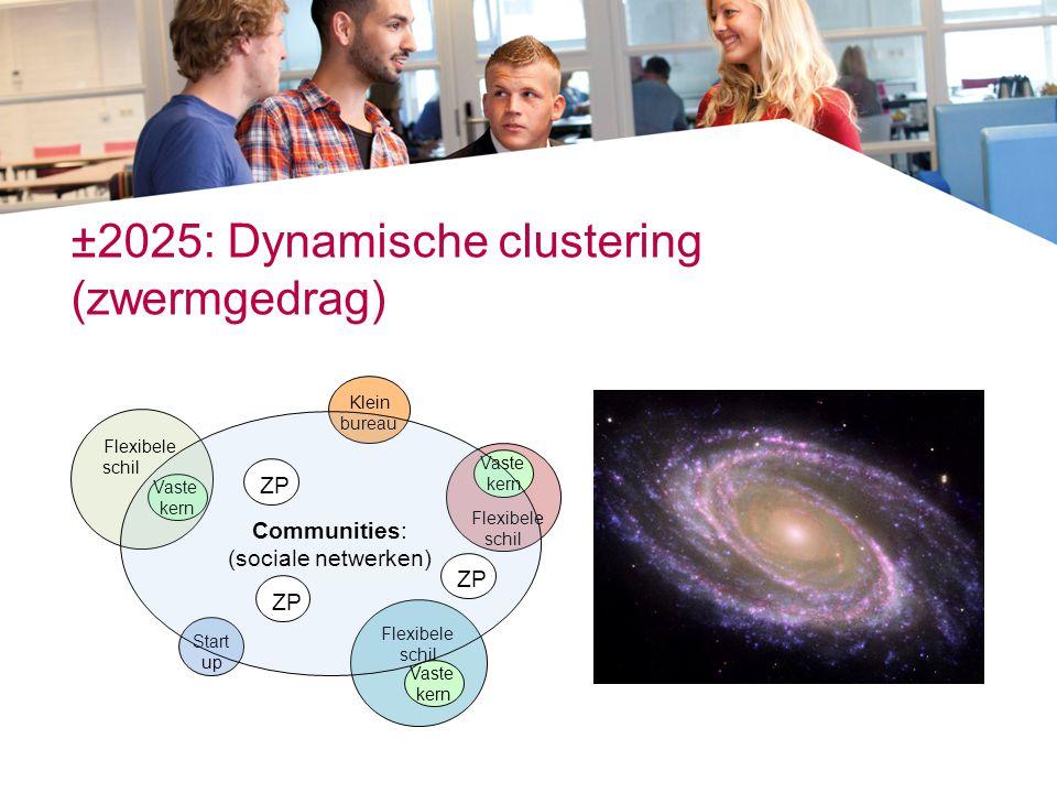 ±2025: Dynamische clustering (zwermgedrag) Klein bureau Start up Flexibele schil Vaste kern Flexibele schil Vaste kern Flexibele schil Vaste kern Comm