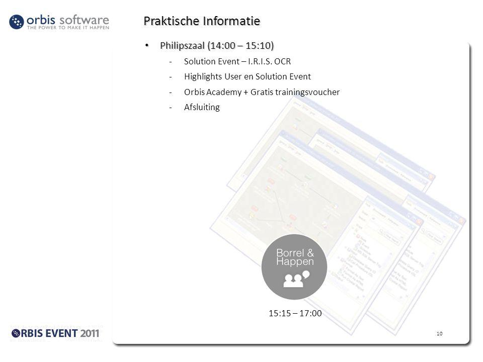 Praktische Informatie • Philipszaal (14:00 – 15:10) -Solution Event – I.R.I.S. OCR -Highlights User en Solution Event -Orbis Academy + Gratis training