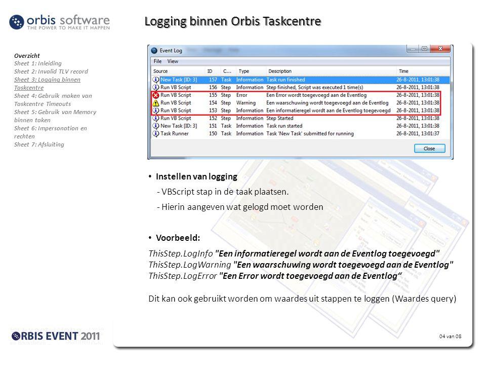 04 van 08 Logging binnen Orbis Taskcentre • Probleem: Een taak loopt fout. - Maar waarop? - En hoe kan dit nagegaan worden? • Gebruik maken van Loggin
