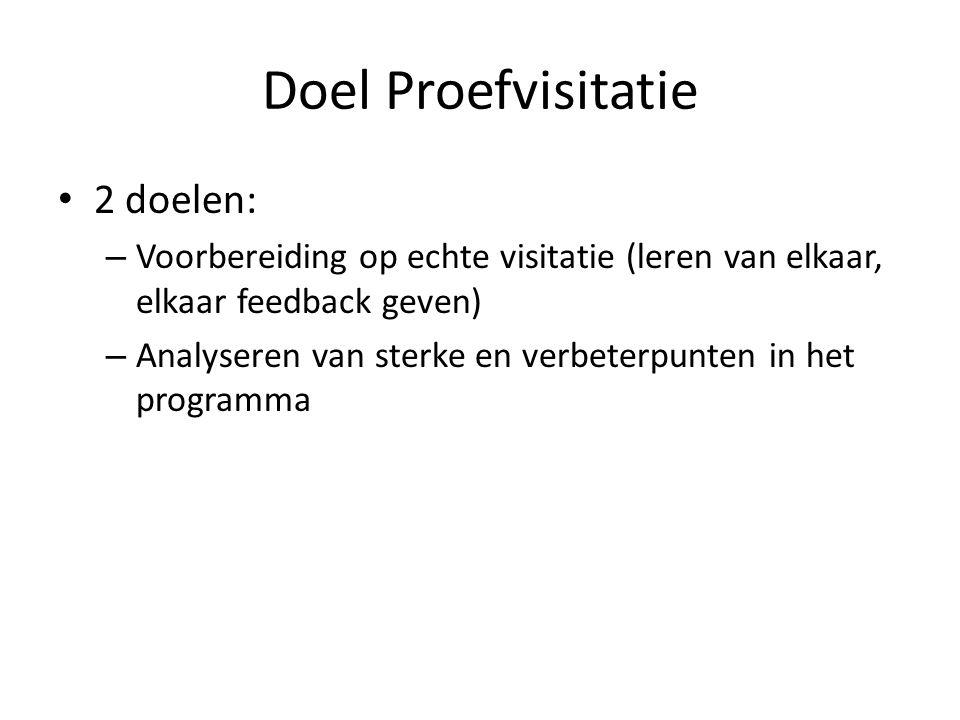 Doel Proefvisitatie • 2 doelen: – Voorbereiding op echte visitatie (leren van elkaar, elkaar feedback geven) – Analyseren van sterke en verbeterpunten in het programma