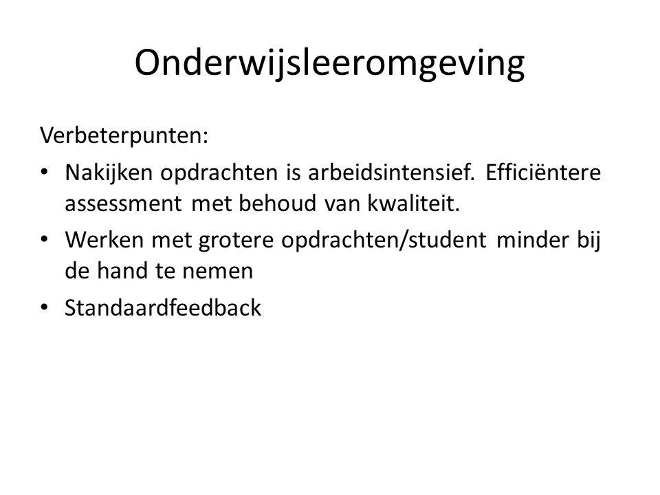 Onderwijsleeromgeving Verbeterpunten: • Nakijken opdrachten is arbeidsintensief.