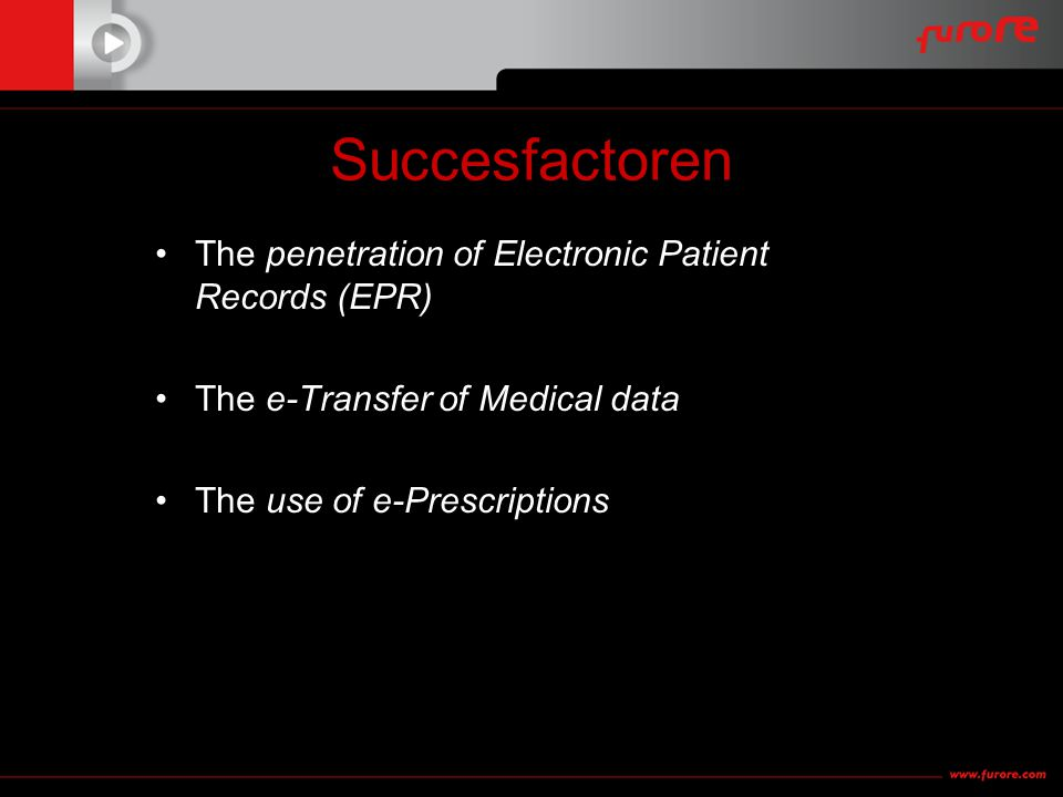 Succesfactoren •The penetration of Electronic Patient Records (EPR) •The e-Transfer of Medical data •The use of e-Prescriptions