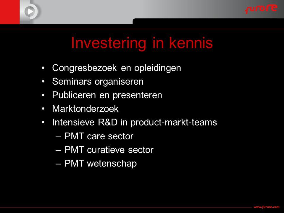 Investering in kennis •Congresbezoek en opleidingen •Seminars organiseren •Publiceren en presenteren •Marktonderzoek •Intensieve R&D in product-markt-teams –PMT care sector –PMT curatieve sector –PMT wetenschap