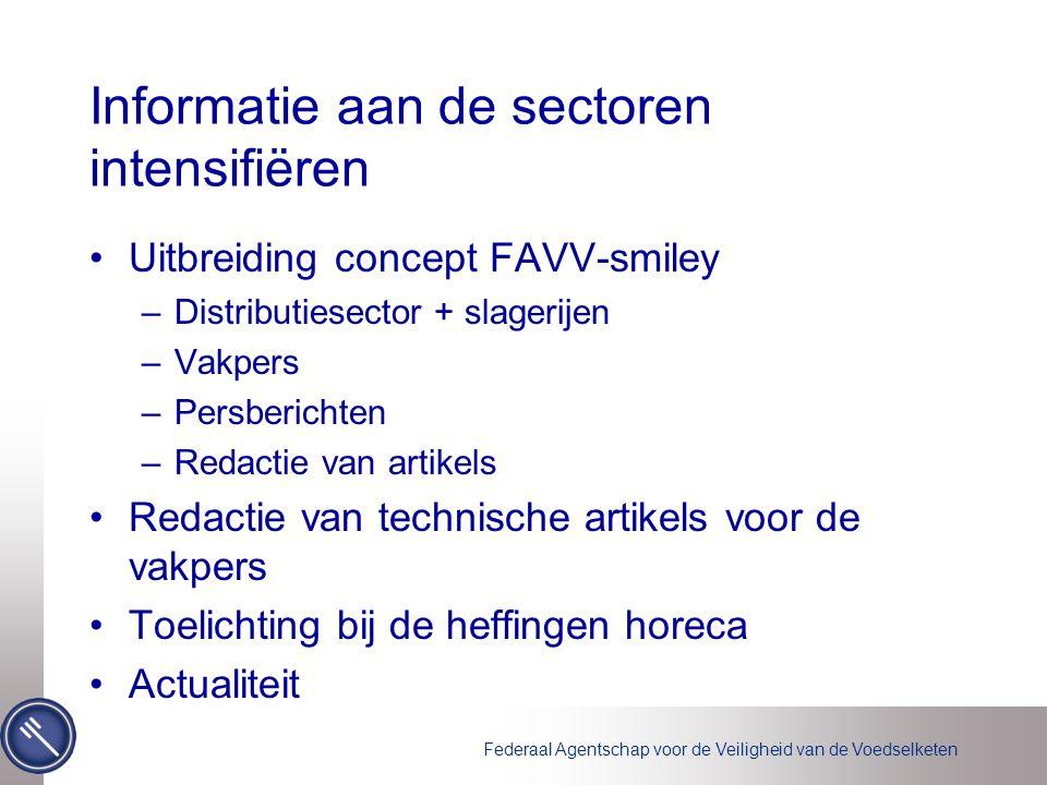 Federaal Agentschap voor de Veiligheid van de Voedselketen Informatie aan de sectoren intensifiëren •Uitbreiding concept FAVV-smiley –Distributiesecto