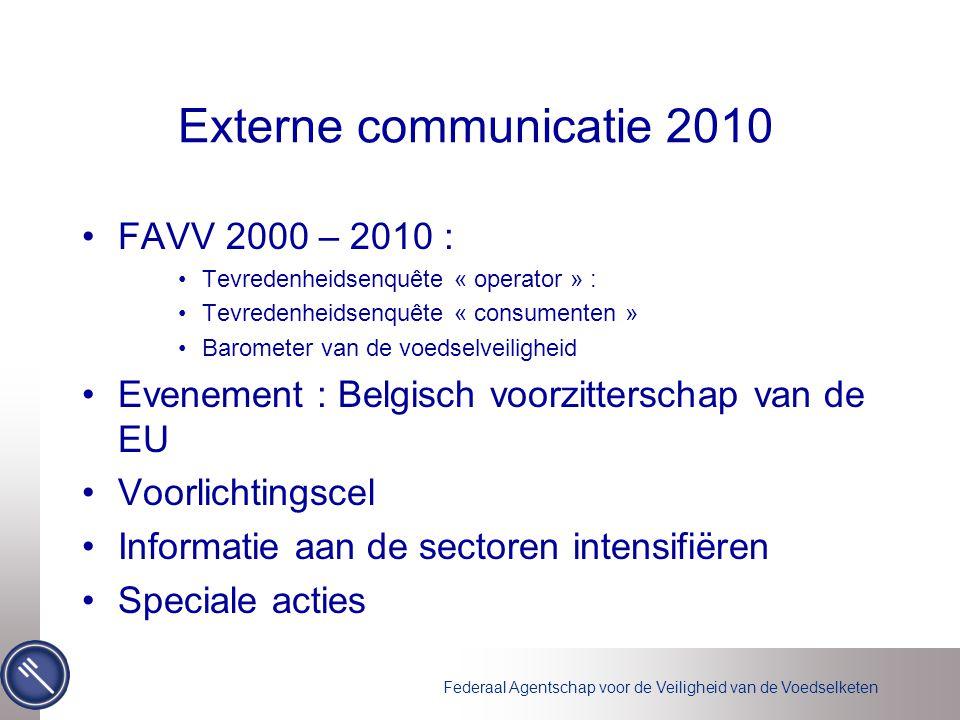 Federaal Agentschap voor de Veiligheid van de Voedselketen Externe communicatie 2010 •FAVV 2000 – 2010 : •Tevredenheidsenquête « operator » : •Tevrede
