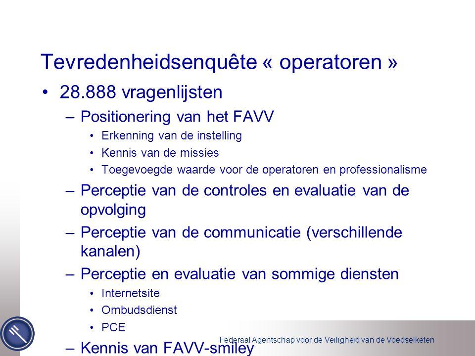 Federaal Agentschap voor de Veiligheid van de Voedselketen Tevredenheidsenquête « operatoren » •28.888 vragenlijsten –Positionering van het FAVV •Erke