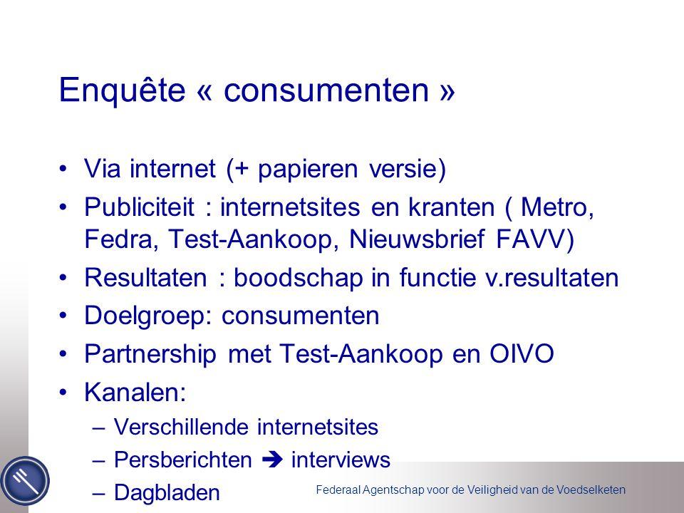 Federaal Agentschap voor de Veiligheid van de Voedselketen •Via internet (+ papieren versie) •Publiciteit : internetsites en kranten ( Metro, Fedra, T