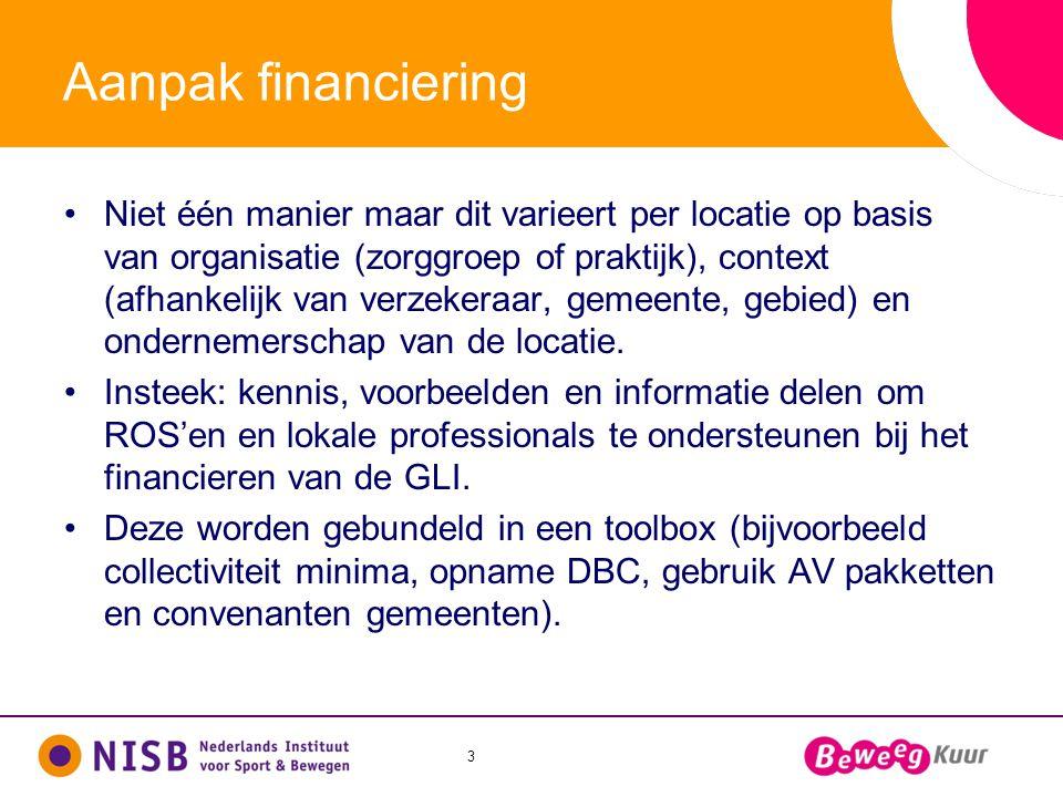 3 Aanpak financiering •Niet één manier maar dit varieert per locatie op basis van organisatie (zorggroep of praktijk), context (afhankelijk van verzek