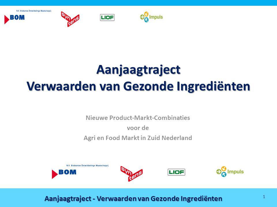 Aanjaagtraject - Verwaarden van Gezonde Ingrediënten 1 Aanjaagtraject Verwaarden van Gezonde Ingrediënten Nieuwe Product-Markt-Combinaties voor de Agr
