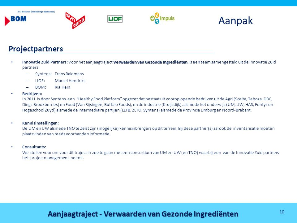 Aanjaagtraject - Verwaarden van Gezonde Ingrediënten 10 Aanpak Projectpartners Verwaarden van Gezonde Ingrediënten • Innovatie Zuid Partners: Voor het