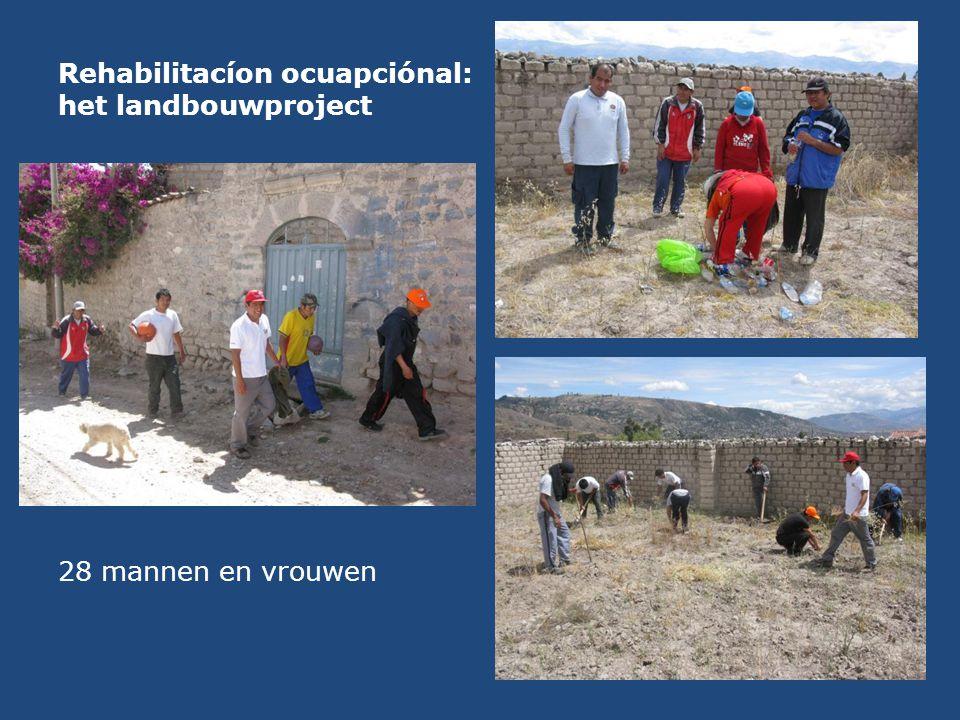Rehabilitacíon ocuapciónal: het landbouwproject 28 mannen en vrouwen
