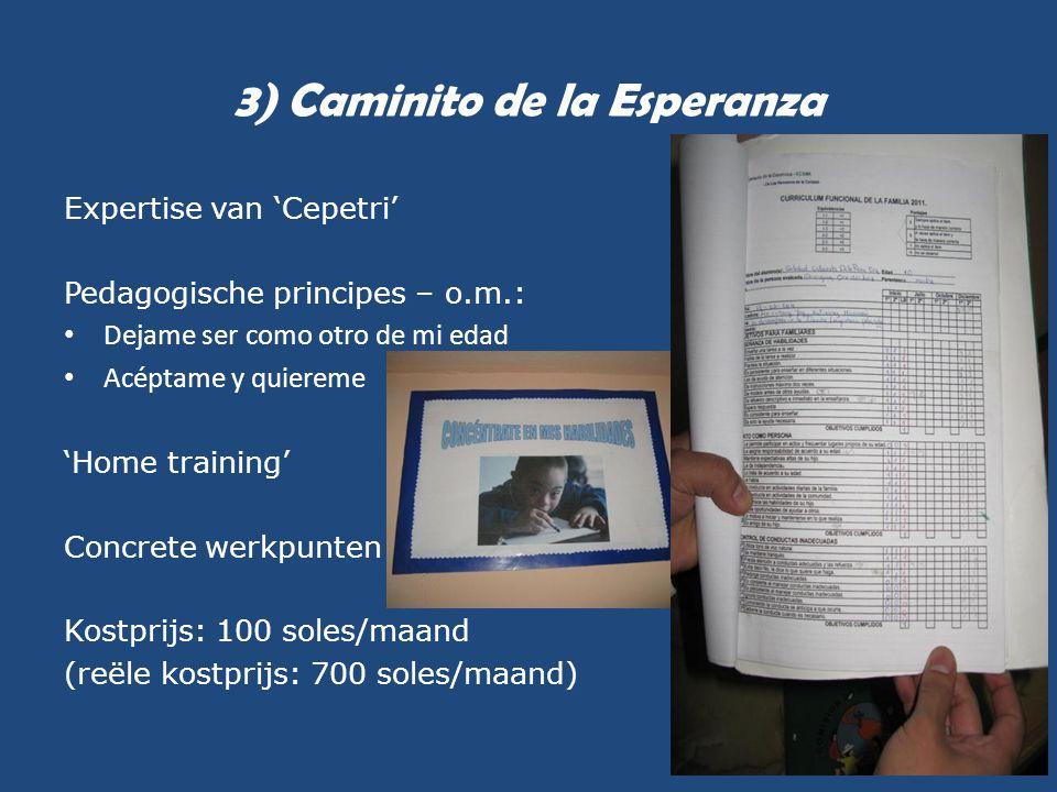 3) Caminito de la Esperanza Expertise van 'Cepetri' Pedagogische principes – o.m.: • Dejame ser como otro de mi edad • Acéptame y quiereme 'Home train