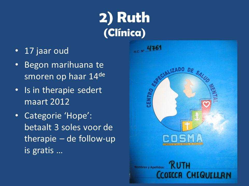 2) Ruth (Clínica) • 17 jaar oud • Begon marihuana te smoren op haar 14 de • Is in therapie sedert maart 2012 • Categorie 'Hope': betaalt 3 soles voor