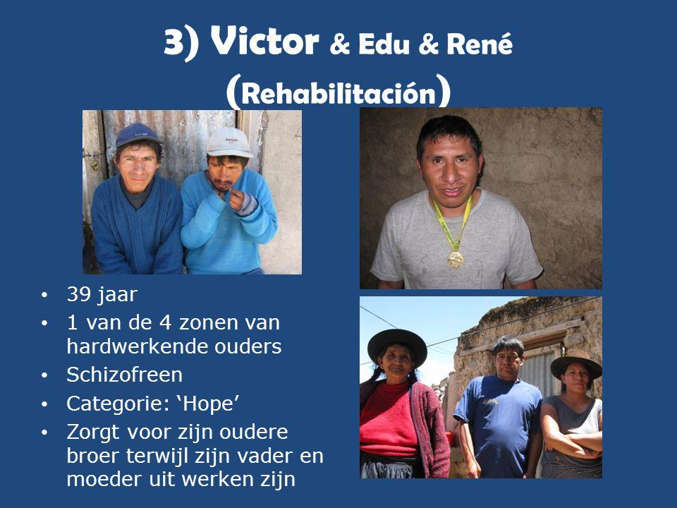 3) Victor & Edu & René ( Rehabilitación ) • 39 jaar • 1 van de 4 zonen van hardwerkende ouders • Schizofreen • Categorie: 'Hope' • Zorgt voor zijn oud
