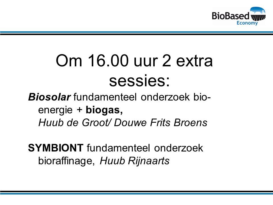 Om 16.00 uur 2 extra sessies: Biosolar fundamenteel onderzoek bio- energie + biogas, Huub de Groot/ Douwe Frits Broens SYMBIONT fundamenteel onderzoek