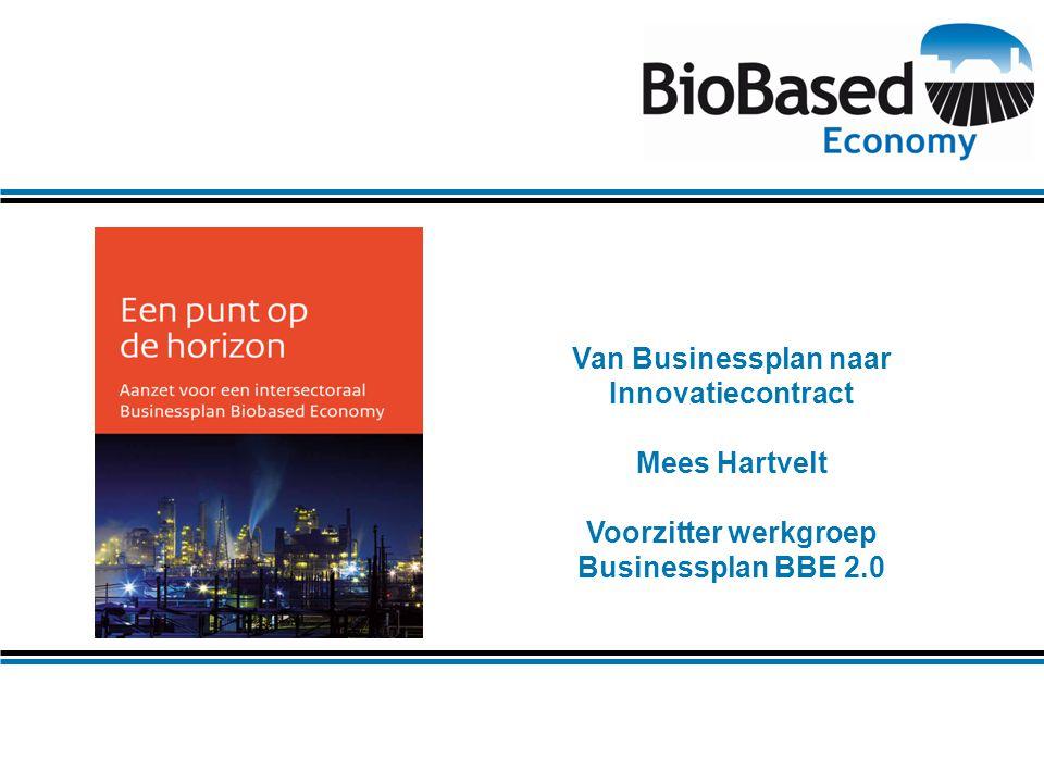 Van Businessplan naar Innovatiecontract Mees Hartvelt Voorzitter werkgroep Businessplan BBE 2.0