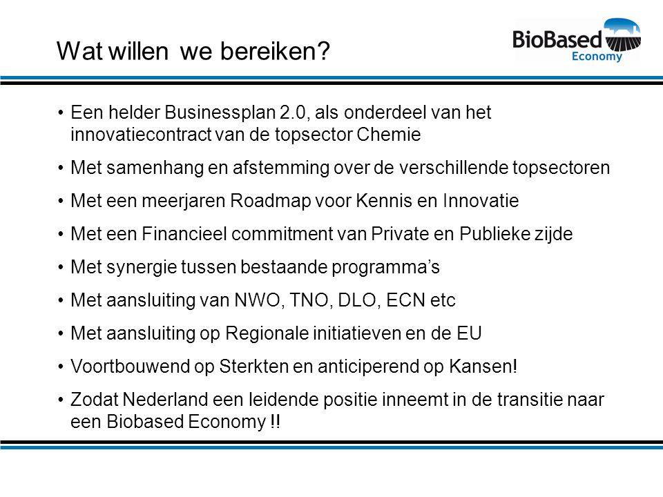 Wat willen we bereiken? •Een helder Businessplan 2.0, als onderdeel van het innovatiecontract van de topsector Chemie •Met samenhang en afstemming ove