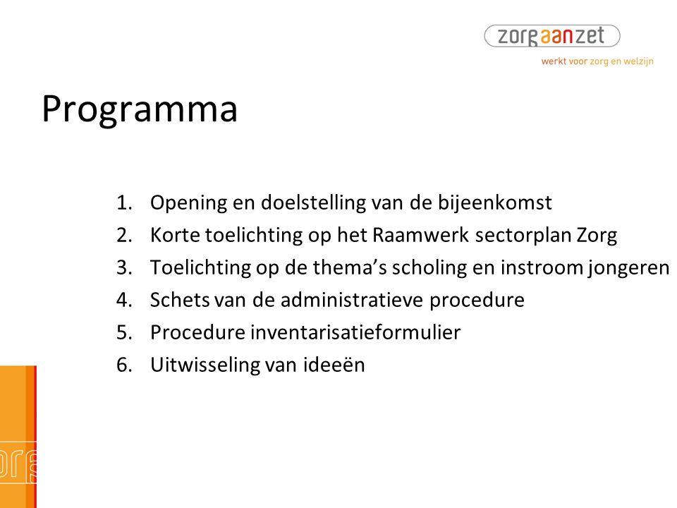 Programma 1.Opening en doelstelling van de bijeenkomst 2.Korte toelichting op het Raamwerk sectorplan Zorg 3.Toelichting op de thema's scholing en ins