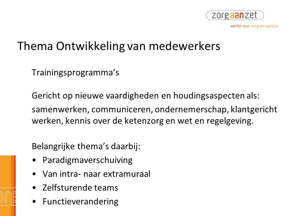 Thema Ontwikkeling van medewerkers Trainingsprogramma's Gericht op nieuwe vaardigheden en houdingsaspecten als: samenwerken, communiceren, ondernemers