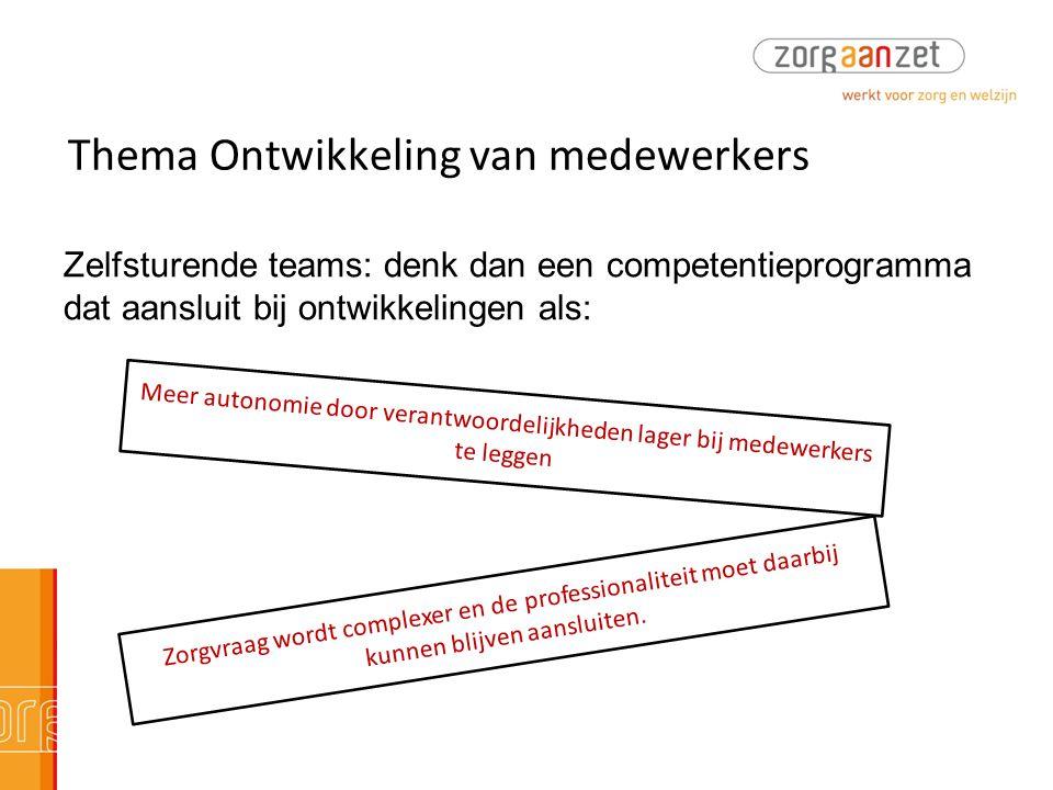 Thema Ontwikkeling van medewerkers Zelfsturende teams: denk dan een competentieprogramma dat aansluit bij ontwikkelingen als: Meer autonomie door vera