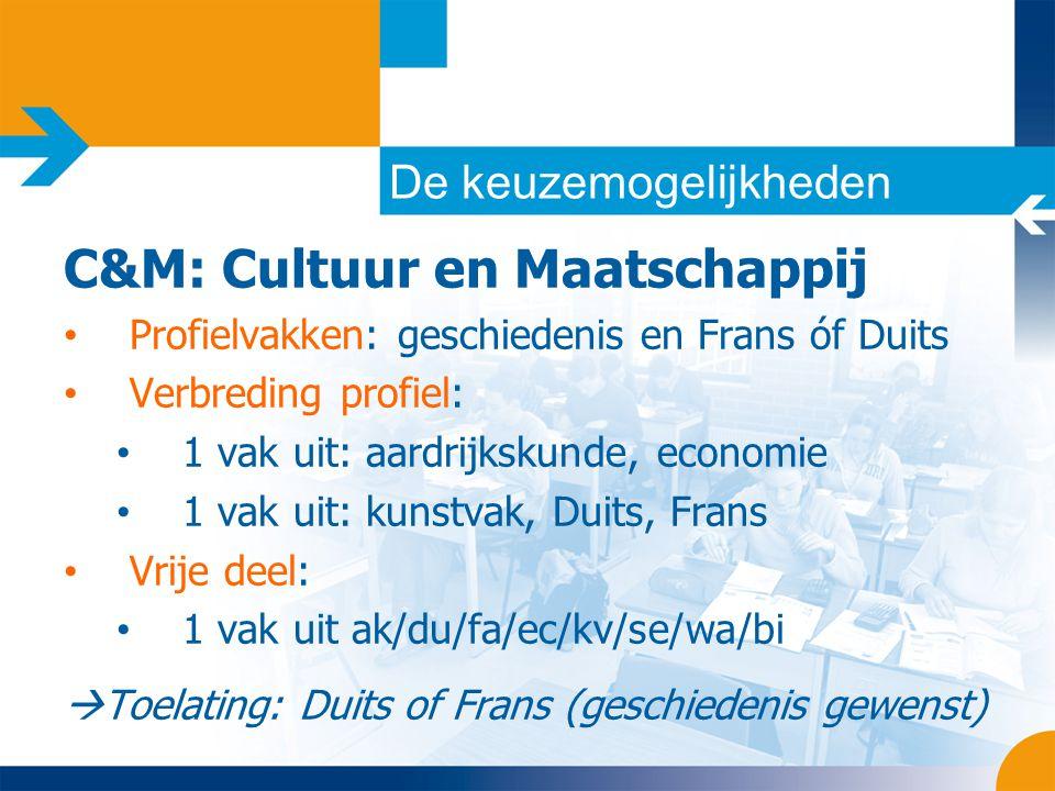 De keuzemogelijkheden C&M: Cultuur en Maatschappij • Profielvakken: geschiedenis en Frans óf Duits • Verbreding profiel: • 1 vak uit: aardrijkskunde,