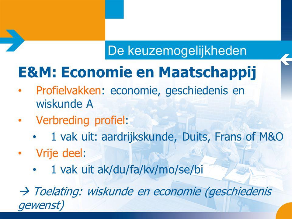 De keuzemogelijkheden E&M: Economie en Maatschappij • Profielvakken: economie, geschiedenis en wiskunde A • Verbreding profiel: • 1 vak uit: aardrijks