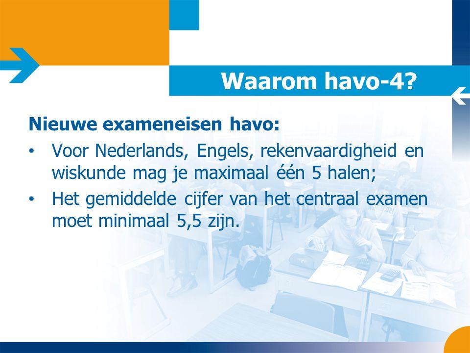 Waarom havo-4? Nieuwe exameneisen havo: • Voor Nederlands, Engels, rekenvaardigheid en wiskunde mag je maximaal één 5 halen; • Het gemiddelde cijfer v