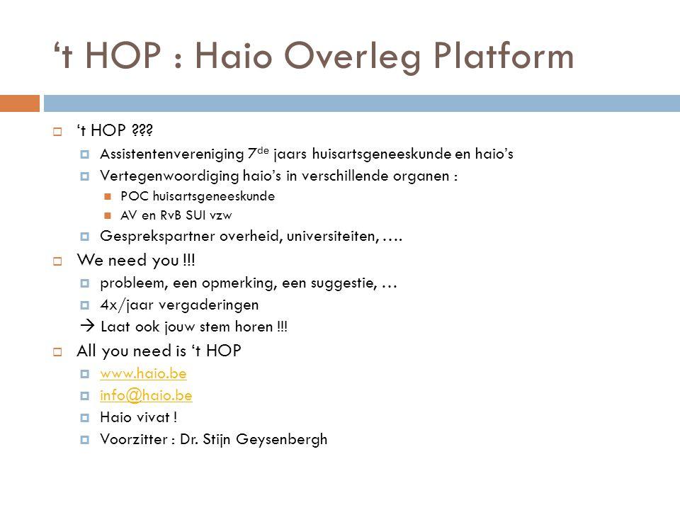 't HOP : Haio Overleg Platform  't HOP ???  Assistentenvereniging 7 de jaars huisartsgeneeskunde en haio's  Vertegenwoordiging haio's in verschille