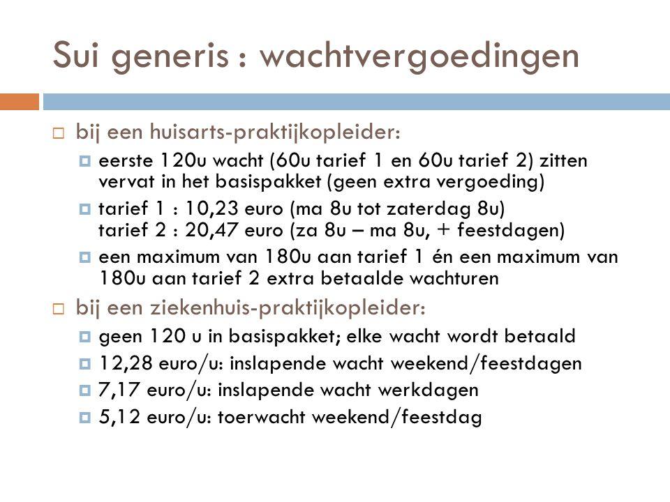 Sui generis : wachtvergoedingen  bij een huisarts-praktijkopleider:  eerste 120u wacht (60u tarief 1 en 60u tarief 2) zitten vervat in het basispakk