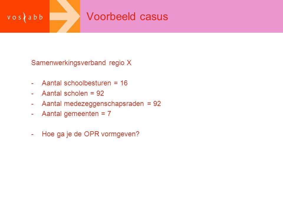 Voorbeeld casus Samenwerkingsverband regio X -Aantal schoolbesturen = 16 -Aantal scholen = 92 -Aantal medezeggenschapsraden = 92 -Aantal gemeenten = 7 -Hoe ga je de OPR vormgeven?