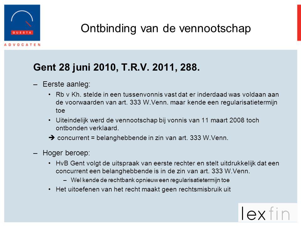 Ontbinding van de vennootschap Gent 28 juni 2010, T.R.V. 2011, 288. –Eerste aanleg: •Rb v Kh. stelde in een tussenvonnis vast dat er inderdaad was vol