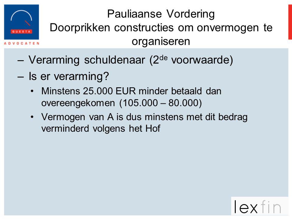 Pauliaanse Vordering Doorprikken constructies om onvermogen te organiseren –Verarming schuldenaar (2 de voorwaarde) –Is er verarming? •Minstens 25.000