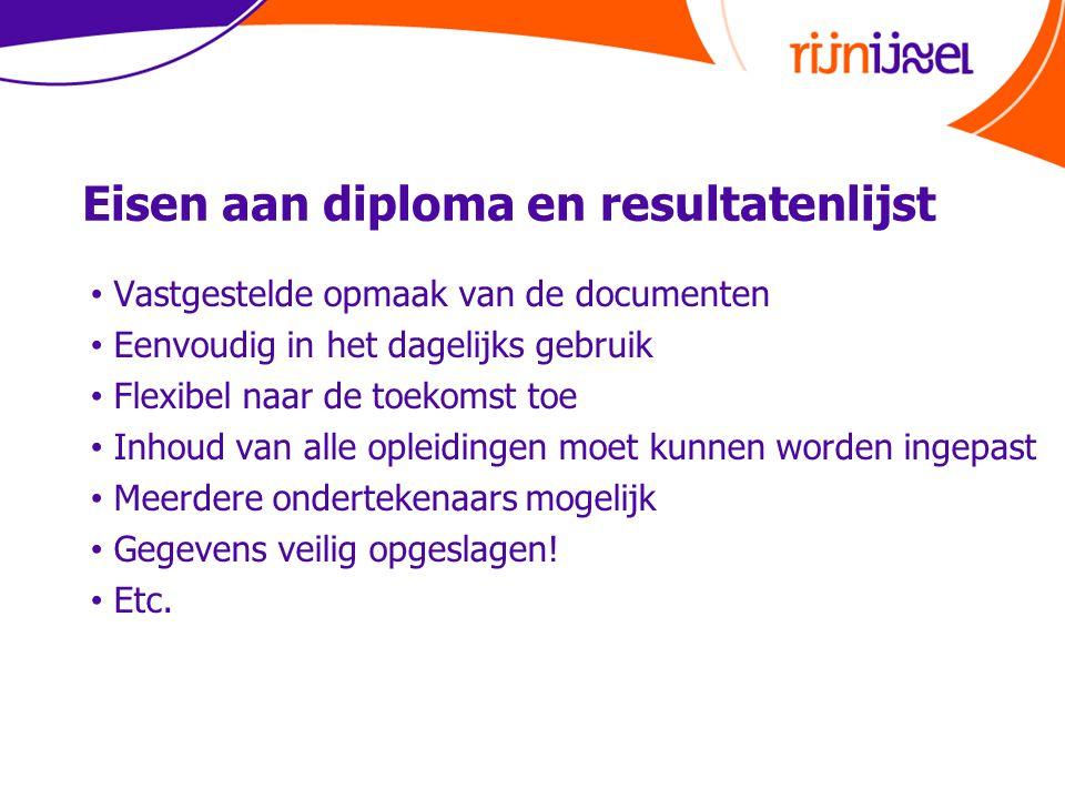 Eisen aan diploma en resultatenlijst • Vastgestelde opmaak van de documenten • Eenvoudig in het dagelijks gebruik • Flexibel naar de toekomst toe • In