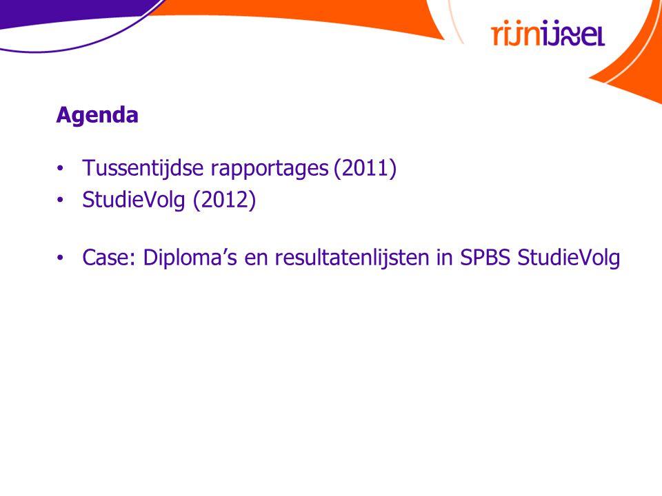 Agenda • Tussentijdse rapportages (2011) • StudieVolg (2012) • Case: Diploma's en resultatenlijsten in SPBS StudieVolg
