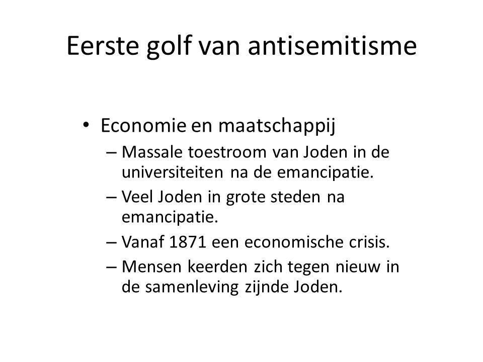Eerste golf van antisemitisme • Economie en maatschappij – Massale toestroom van Joden in de universiteiten na de emancipatie. – Veel Joden in grote s