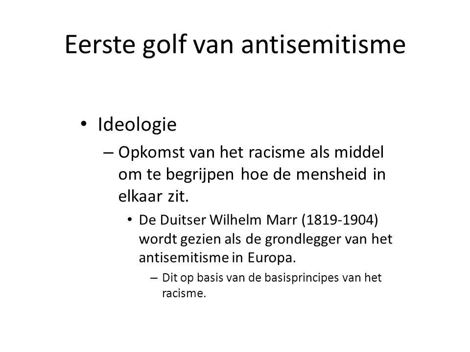 Eerste golf van antisemitisme • Ideologie – Opkomst van het racisme als middel om te begrijpen hoe de mensheid in elkaar zit. • De Duitser Wilhelm Mar